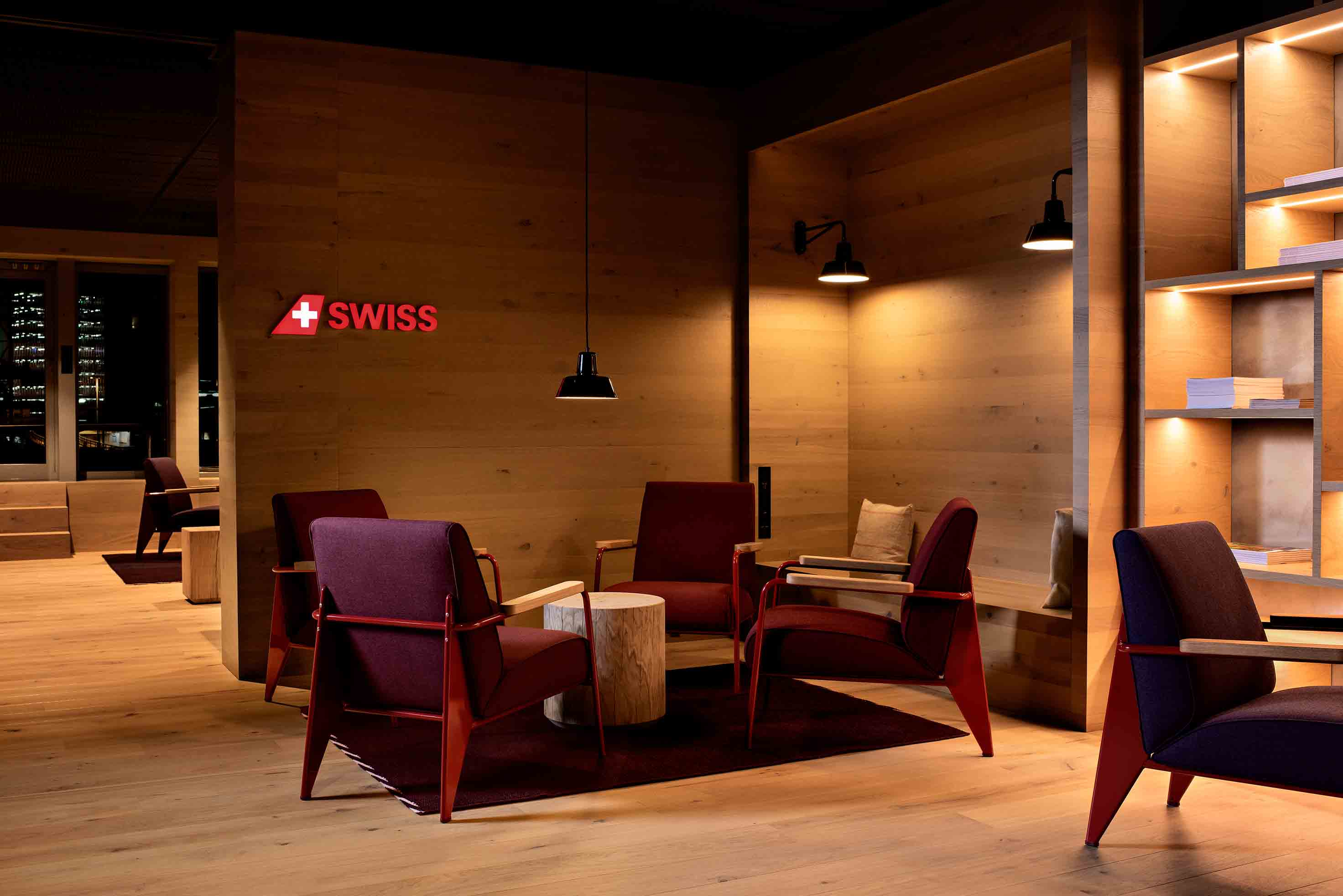 SWISS business class lounge Zurich seating